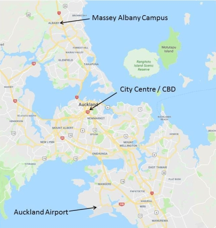 Map Auckland Airp-CBD-Albany Campus
